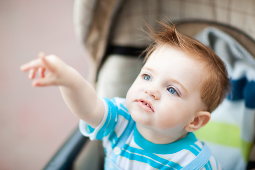 one-year-old pointing